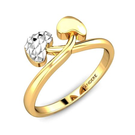 Gold Rings Yellow Gold 22kt - Melissa Hearts Gold Ring - Candere By Kalyan Jewellers