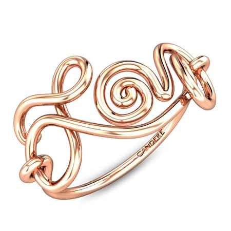 Gold Rings Rose Gold 18kt - Love Gold Ring - Candere By Kalyan Jewellers