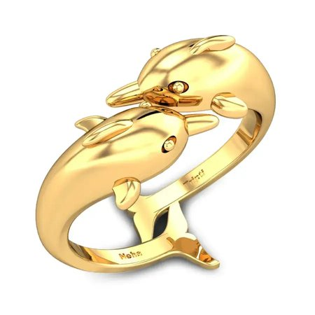 Gold Rings Yellow Gold 18kt - Dancing Dolphins Gold Ring - Candere By Kalyan Jewellers