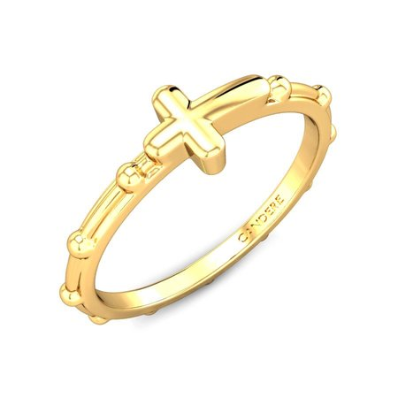 Gold Rings Yellow Gold 14kt - Alair Cross Gold Ring - Candere By Kalyan Jewellers