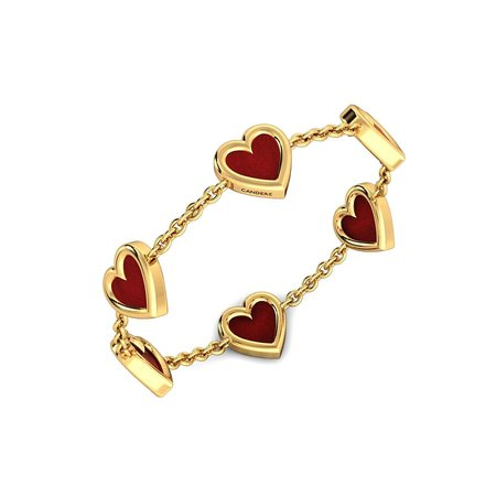 Gold Rings Yellow Gold 14kt - Burgundy Hearts Gold Ring - Candere By Kalyan Jewellers