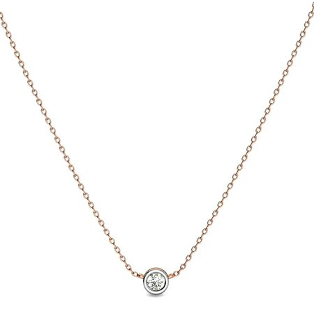 Diamond Pendant With Chain Rose Gold 14kt - Arae Diamond Necklace - Candere By Kalyan Jewellers