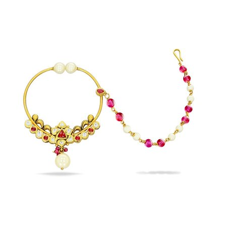 Gold Nath Yellow Gold 22kt - Arwa Mudhra Gold Nath - Candere By Kalyan Jewellers