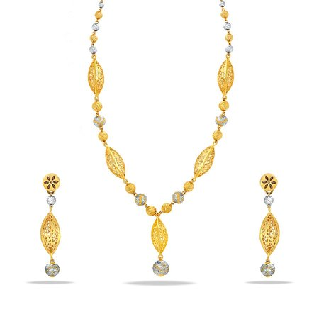 Gold Necklaces Yellow Gold 22kt - Parajika Sankalp Gold Necklace Set - Candere By Kalyan Jewellers