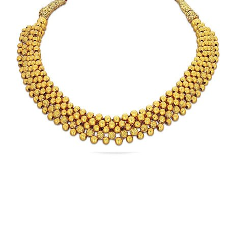 Gold Necklaces Yellow Gold 22kt - Nidhra Tushi Kyra Gold Necklace Fs - Candere By Kalyan Jewellers