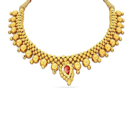 Gold Necklaces Yellow Gold 22kt - Manayi Tushi Kyra Gold Necklace Fs - Candere By Kalyan Jewellers