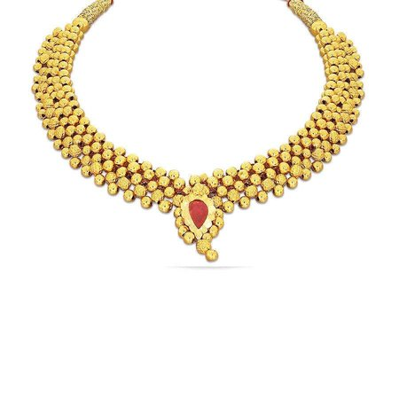 Gold Necklaces Yellow Gold 22kt - Dharmi Tushi Kyra Gold Necklace Fs - Candere By Kalyan Jewellers