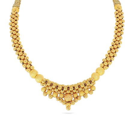 Gold Necklaces Yellow Gold 22kt - Priyak Tushi Kyra Gold Necklace Fs - Candere By Kalyan Jewellers
