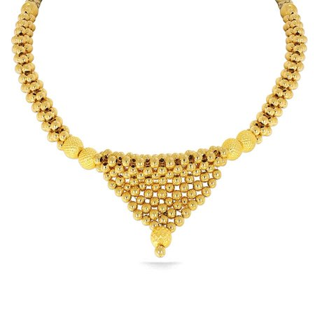Gold Necklaces Yellow Gold 22kt - Shivgami Tushi Kyra Gold Necklace Fs - Candere By Kalyan Jewellers